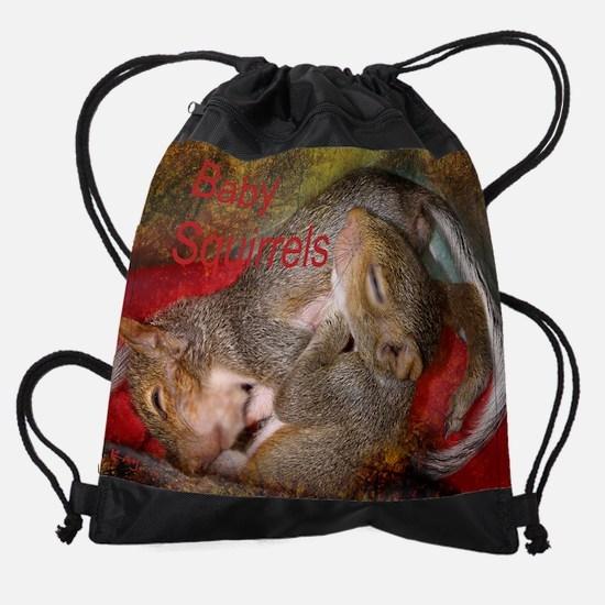 baby squirrel Cover.png Drawstring Bag
