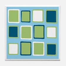 Blue & Green Squares Tile Coaster