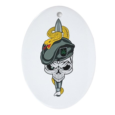 Special Forces Skull Oval Ornament