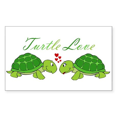 Turtle Love Sticker (Rectangle)