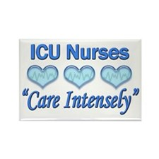 ICU Nurses - Care Intensely Rectangle Magnet