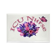 ICU Nurse Iris & Tulips Rectangle Magnet