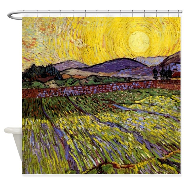 Van Gogh Field with Rising Sun Shower Curtain by FineArtDesigns