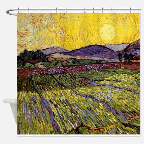 Van Gogh Field with Rising Sun Shower Curtain