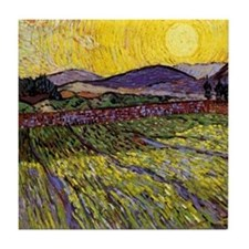 Van Gogh Field with Rising Sun Tile Coaster