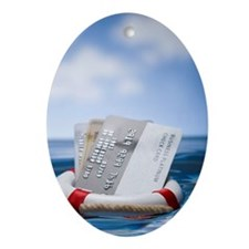 Credit cards in a life saver Ornament (Oval)