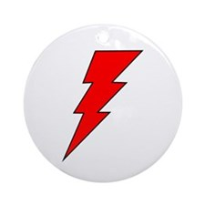 The Red Lightning Bolt Shop Ornament (Round)