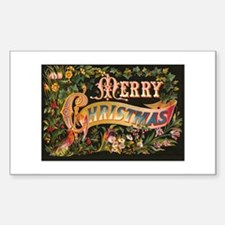 Victorian Merry Christmas Rectangle Decal