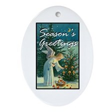 Season's Greetings - Angel Tree Oval Ornament