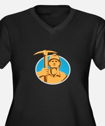 Coal Miner With Pick Ax Hardhat Front Retro Plus S