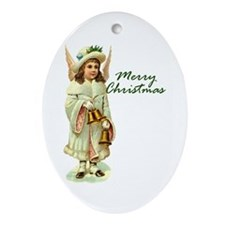 Merry Christmas - Christmas Angel Oval Ornament