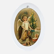 Victorian Christmas Angel Oval Ornament