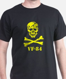 Scull  Crossbones YEL REV on black T-Shirt