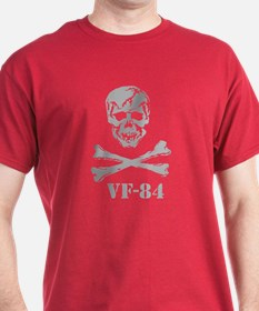 Scull & Crossbones GRY REV on BLK T-Shirt