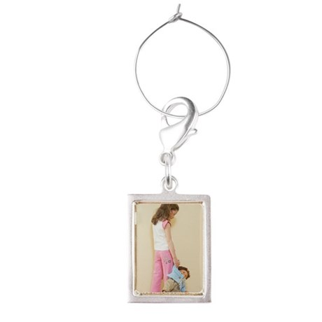 rear view of young girl holdin Portrait Wine Charm