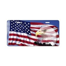 This is an American flag wa Aluminum License Plate