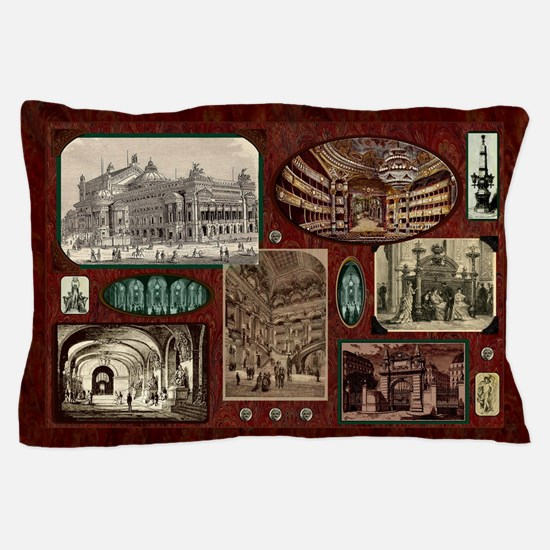 Paris Opera House, Vintage Red Collage Pillow Case