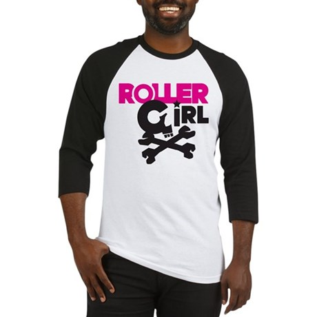 Rollergirl Skull Logo Pink Baseball Jersey