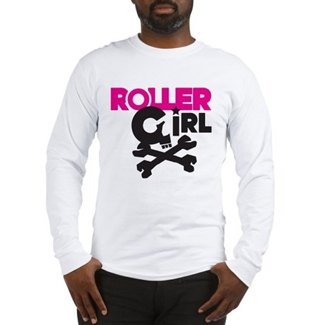 Rollergirl Skull Logo Pink Long Sleeve T-Shirt