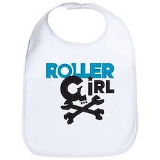 Rollergirl Skull Logo Blue Bib