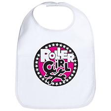 Rollergirl Skull Circle Pink Bib
