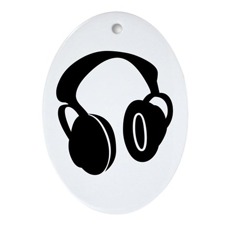 DJ Headphones Oval Ornament