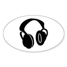 DJ Headphones Oval Decal