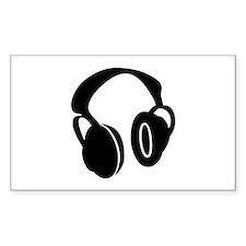 DJ Headphones Rectangle Decal