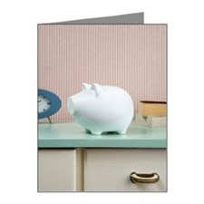 Piggy bank on a dresser Note Cards (Pk of 20)