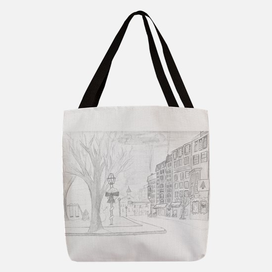 Snowy Town Polyester Tote Bag