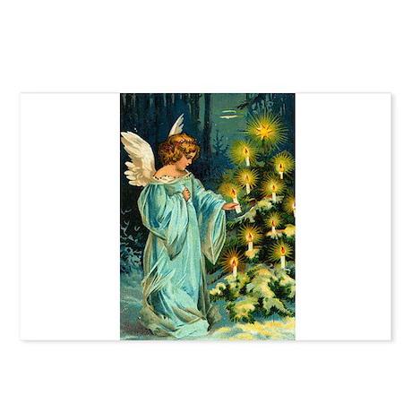 Angel Lighting Candles on Christmas Tree Postcards