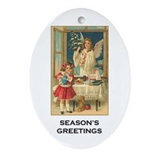 Holiday Angel - Season's Greetings Oval Ornament