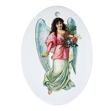Beautiful Victorian Angel in Pink Oval Ornament