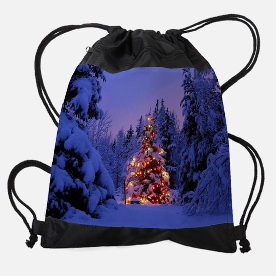 Christmas Tree With Lights Drawstring Bag