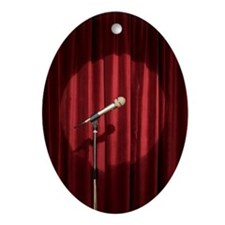 Spotlight on microphone on stage Ornament (Oval)