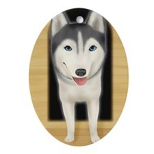 Siberian Husky getting out of a do Ornament (Oval)