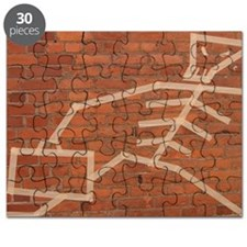 Masking tape art on brick wall Puzzle
