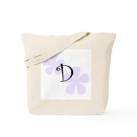 Lilac Flowers Monogram D Tote Bag