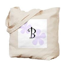 Lilac Flowers Monogram B Tote Bag