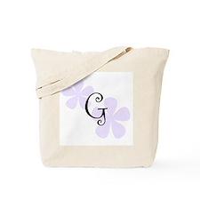 Lilac Flowers Monogram G Tote Bag