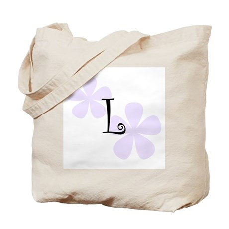 Lilac Flowers Monogram L Tote Bag