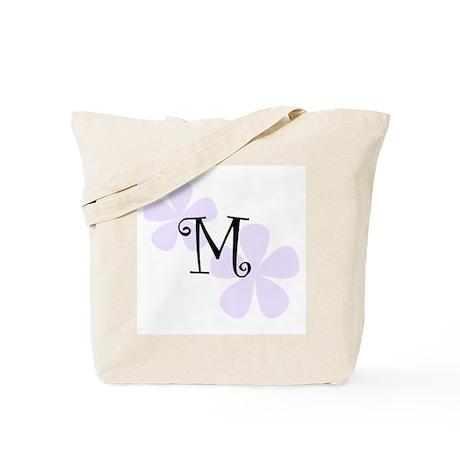Lilac Flowers Monogram M Tote Bag