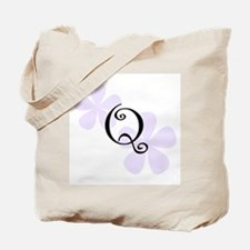 Lilac Flowers Monogram Q Tote Bag