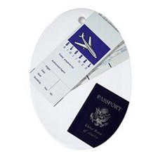 Passport and boarding passes Ornament (Oval)