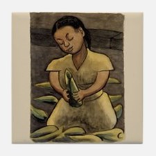 Diego Rivera Art Tile Coaster Girl with Corn