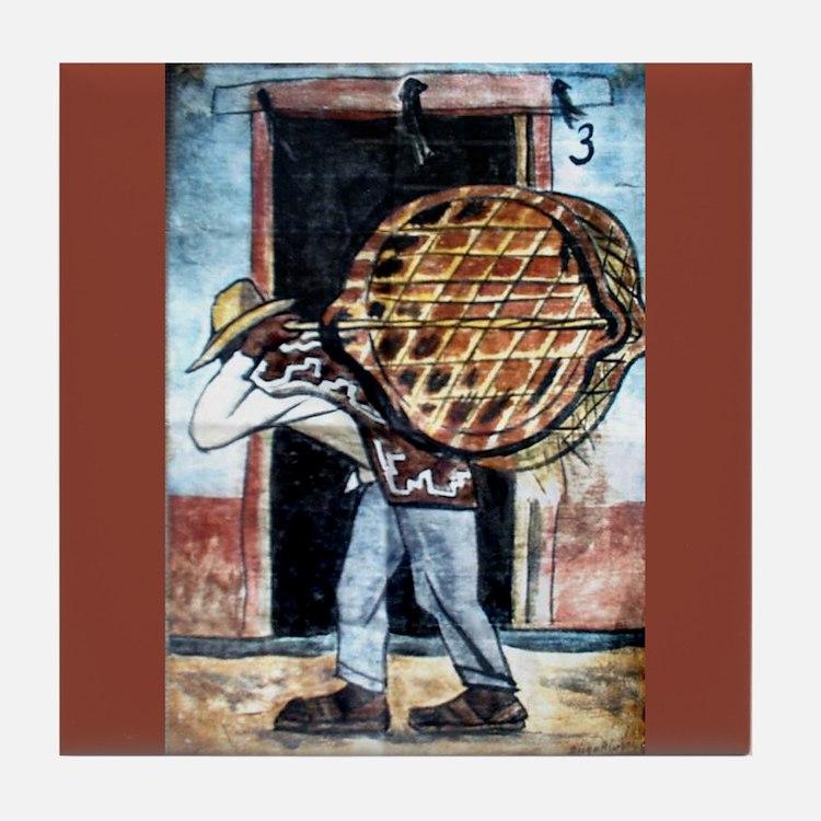 Diego Rivera Man Carrying Basket Art Tile Coaster