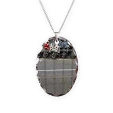Row of parked motorbikes Necklace