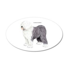 Old English Sheepdog Dog 20x12 Oval Wall Decal