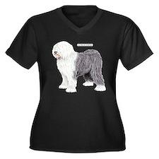 Old English Sheepdog Dog Women's Plus Size V-Neck