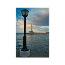 Venetian Lighthouse Chania Harbor Rectangle Magnet